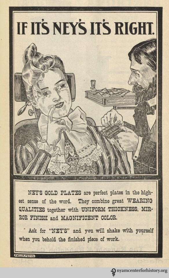 Ney's Gold Plates advertisement in the American Journal of Dental Science, vol. 33, no. 1, May 1899.