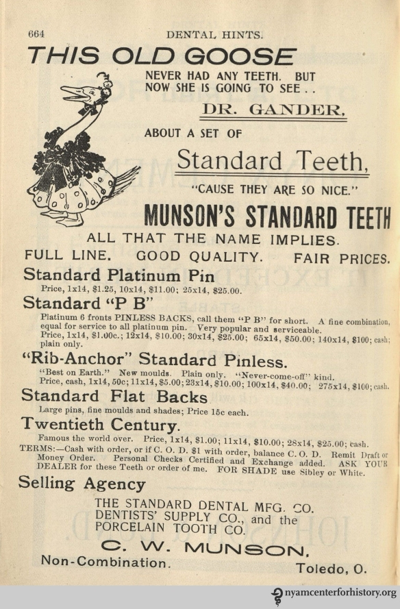 Munson's Standard Teeth advertisement in Dental Hints, vol. 3, no. 12, December 1901.