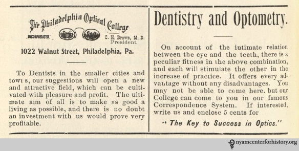 Advertisement for the Philadelphia Optical College in Dental Hints, vol. 3, no. 2, February 1901.