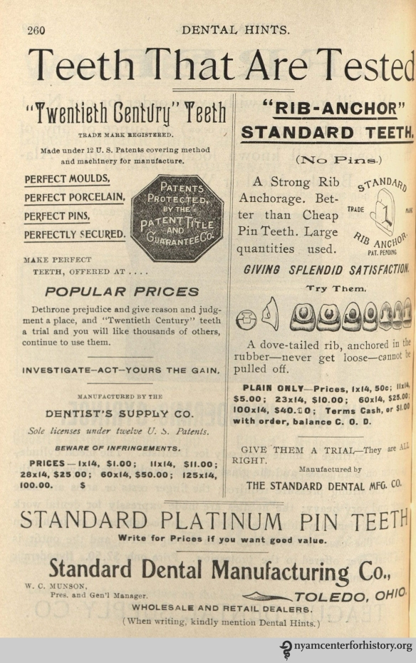 Standard Dental Manufacturing Co. advertisement in Dental Hints, vol. 3, no. 5, May 1901.