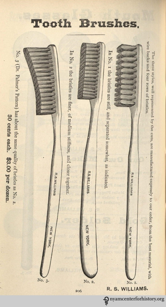 R. S. Williams Toothbrushes advertisement in Dental and Oral Science Magazine, vol. 1, no. 2, May 1878