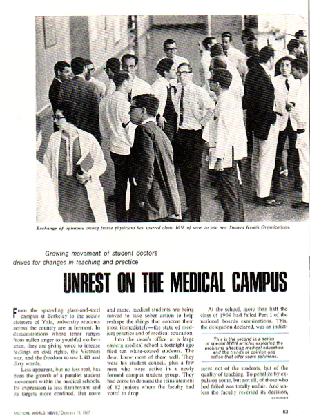 Article on medical student unrest in Medical World News, Oct. 13, 1967, pp. 63–67.
