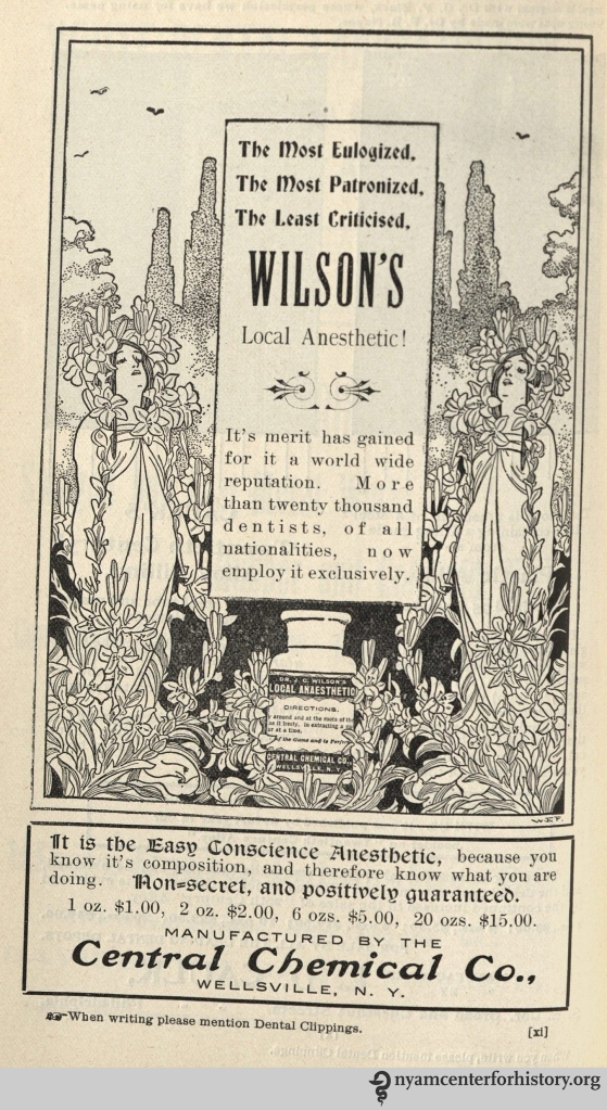 Advertisement for Wilson's Local Anesthetic in Dental Clippings, vol. 3, no. 6, April 1901.