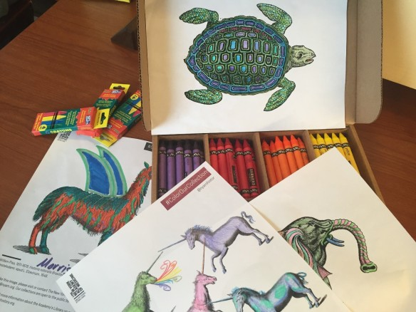 Coloring sheets fro the New York Academy of Medicine Library. Photo: Emily Miranker.