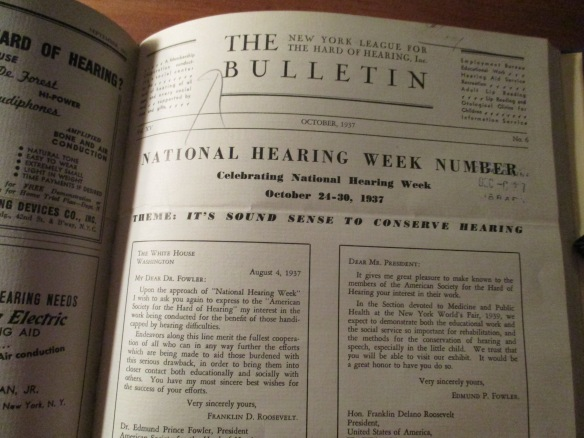 Front page of the October 1937 issue of The Bulletin magazine, promoting the National Hearing Week, with reprints of letters from FDR.