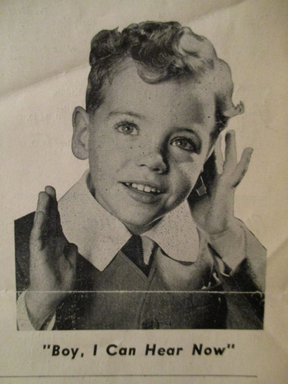 "Promotional photo for the League's ""Children's Auditory Training Project"" campaign of the 1940s (The Bulletin, Nov-Dec, 1949)"