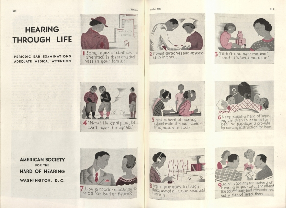 """Hearing through Life,"" a national campaign launched by the ASHH (Hygeia, October 1937)."