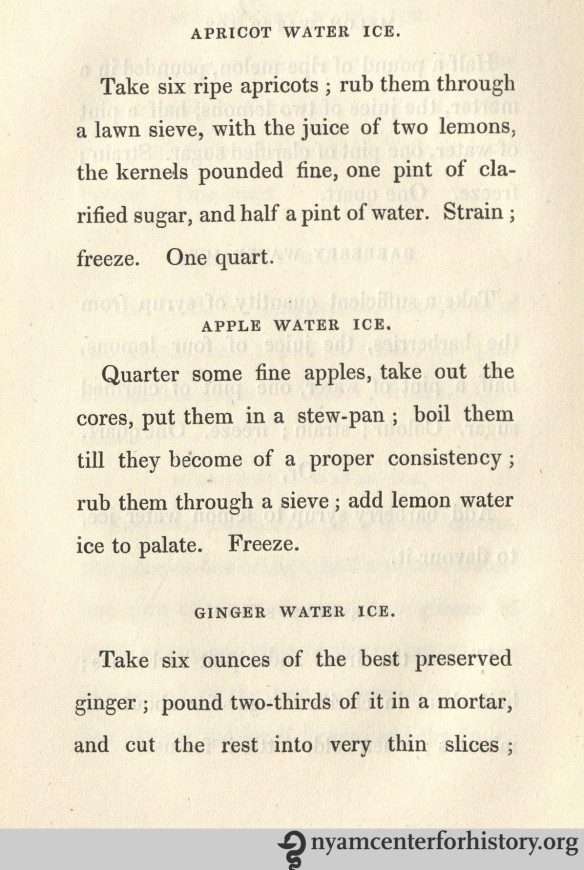 Apple water ice et al., published in Thomas Masters' The Ice Book, 1844.