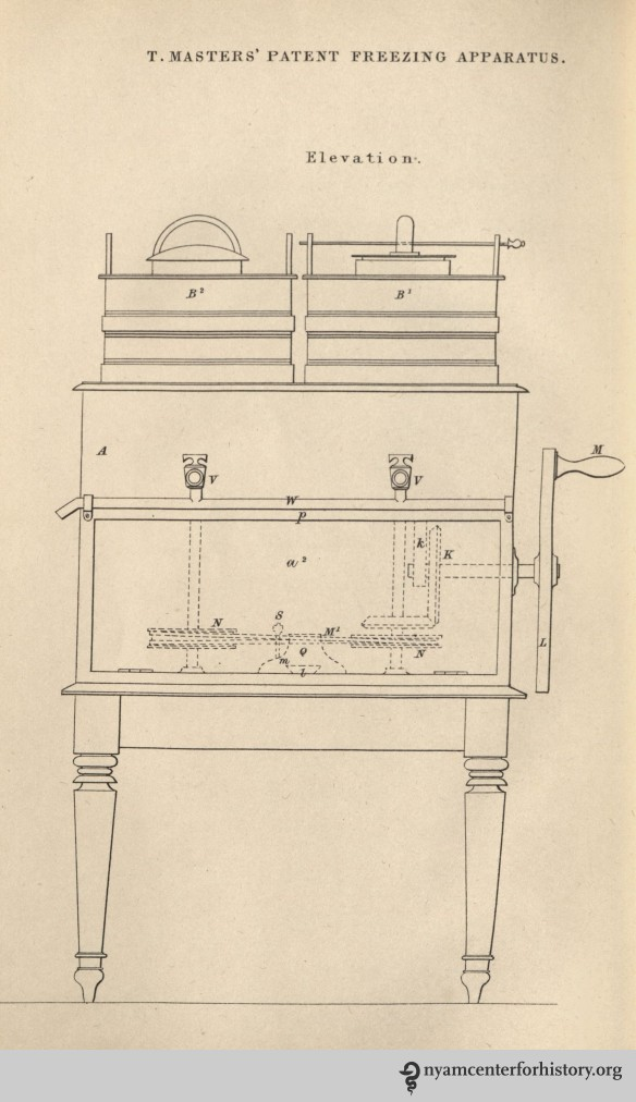 An elevation of a double-motion machine with pails (B), a2 (machinery), and P (flapdoor).  Some were made with a drawer underneath, which serves as a wine-cooler.  Plate 1 published in Thomas Masters' The Ice Book, published in 1844.