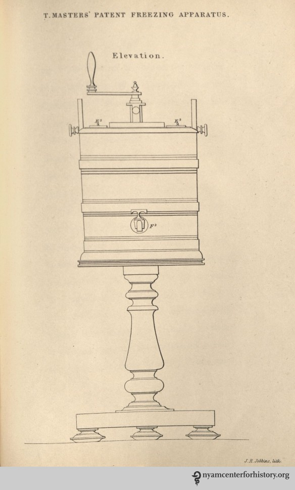 A single-motion machine with a freezer that is rotated by turning the crank handle at the top.  Plate 3, published in Thomas Masters' The Ice Book, 1844.