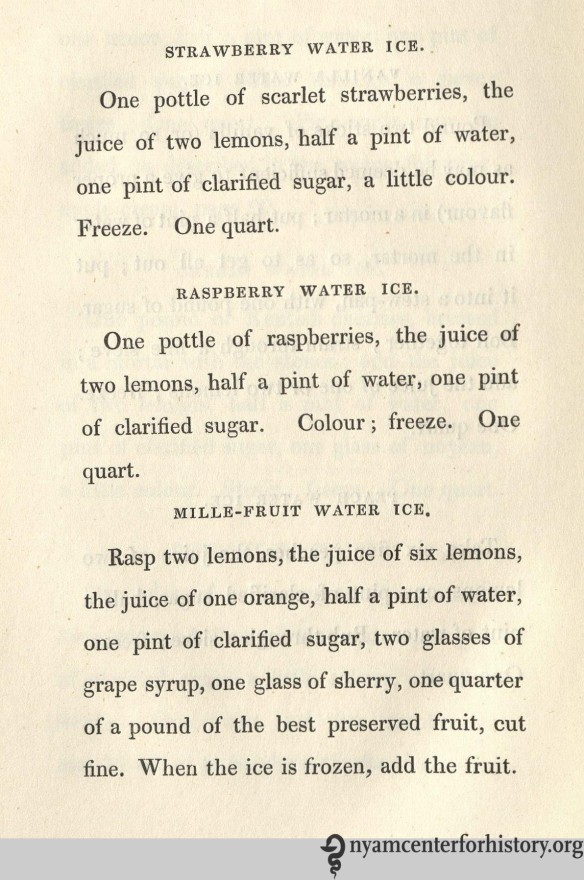 Raspberry water ice et al., published in Thomas Masters' The Ice Book, 1844.