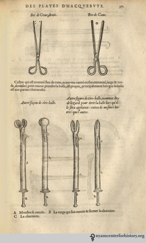 "Descriptions of surgical tools, including a variety of tools for extracting bullets from wounds. On the top left, ""crane bill"" forceps for fragmented bullets; on right a shorter ""duck bill"" instrument designed for extracting whole bullets. At bottom, ""lizard noses"" for drawing out flattened bullets."