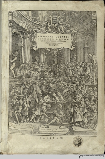 The frontispiece of Andreas Vesalius' de humani fabrica corporis, published in 1543.