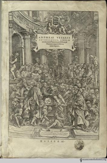 The frontispiece of Andreas Vesalius' de humani fabrica corporis, published in 1543.