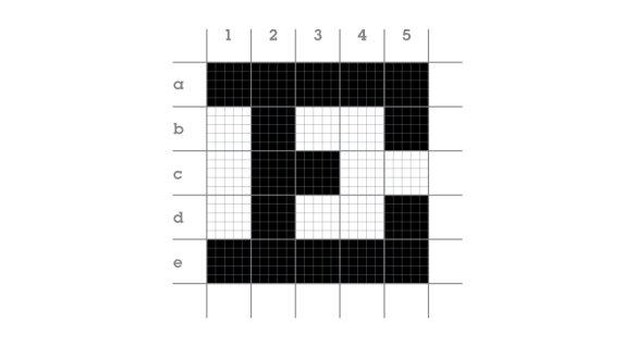 Optotype 5x5 grid