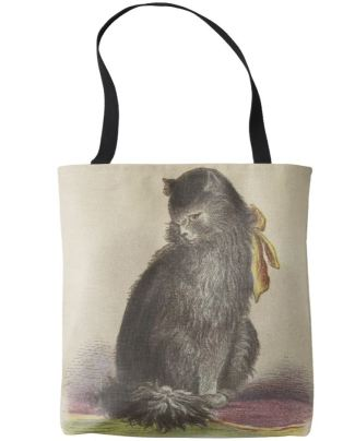 Longhaired black cat tote