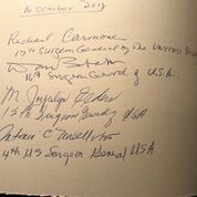 The Surgeons General's signatures in our Drs. Barry and Bobbi Coller Rare Book Reading Room 2018 visitor's book.