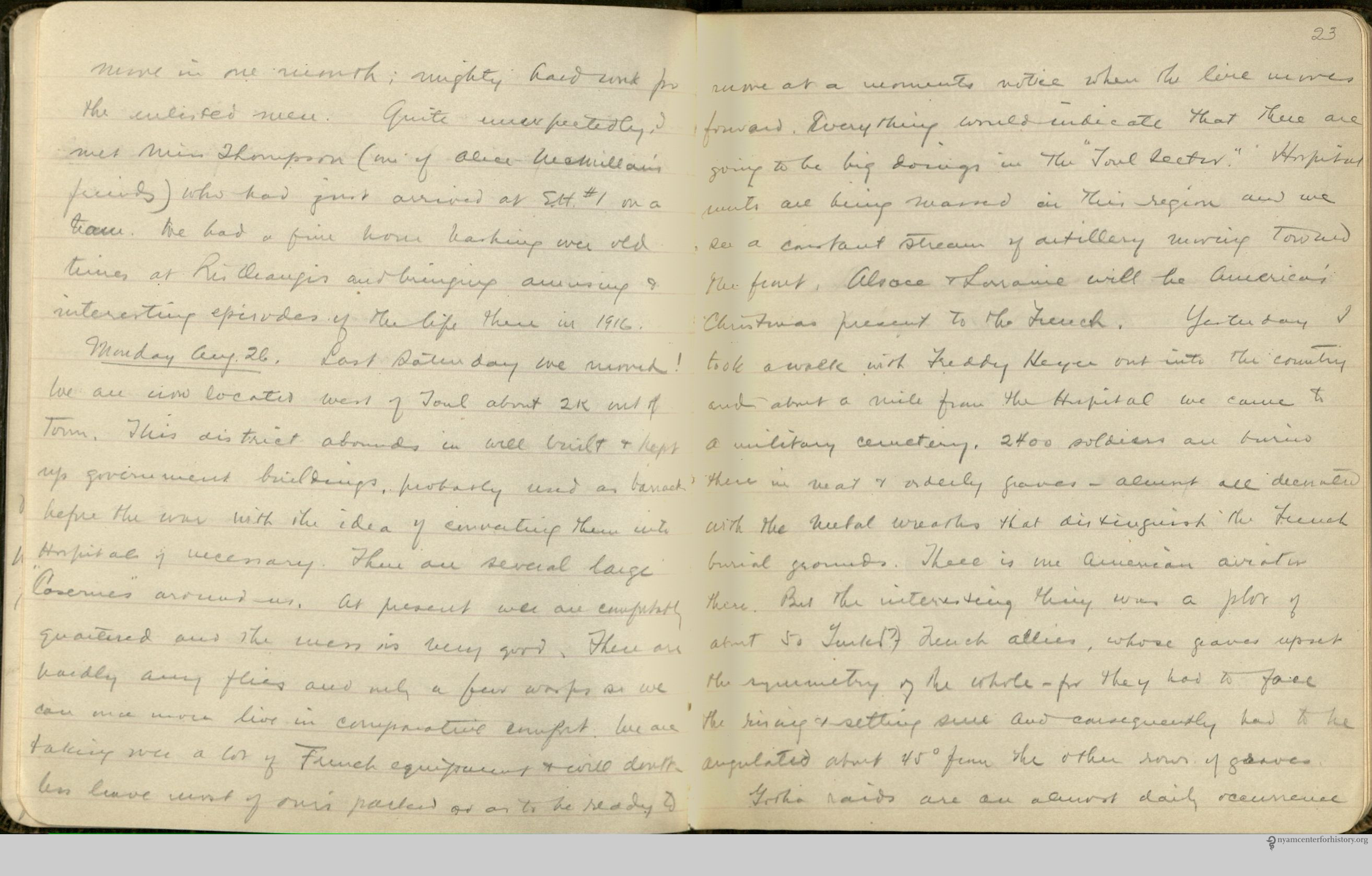 Charles Terry Butler July to December 1918 personal diary