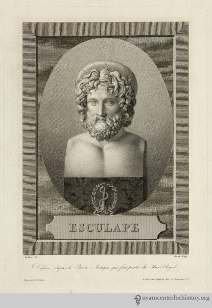 Aesculapius. Example of engraving.