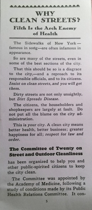 Committee of Twenty, Why Clean Streets 1