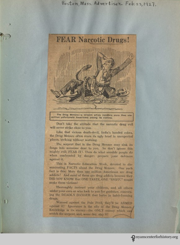 Dunham_Clippings_1927_FearNarcoticsArticle_watermark