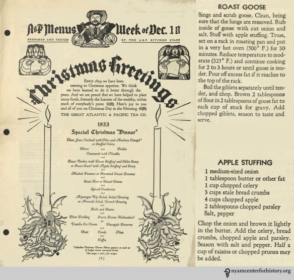 Menu for a Special Christmas dinner, along with recipes for Roast Goose and Apple Stuffing.