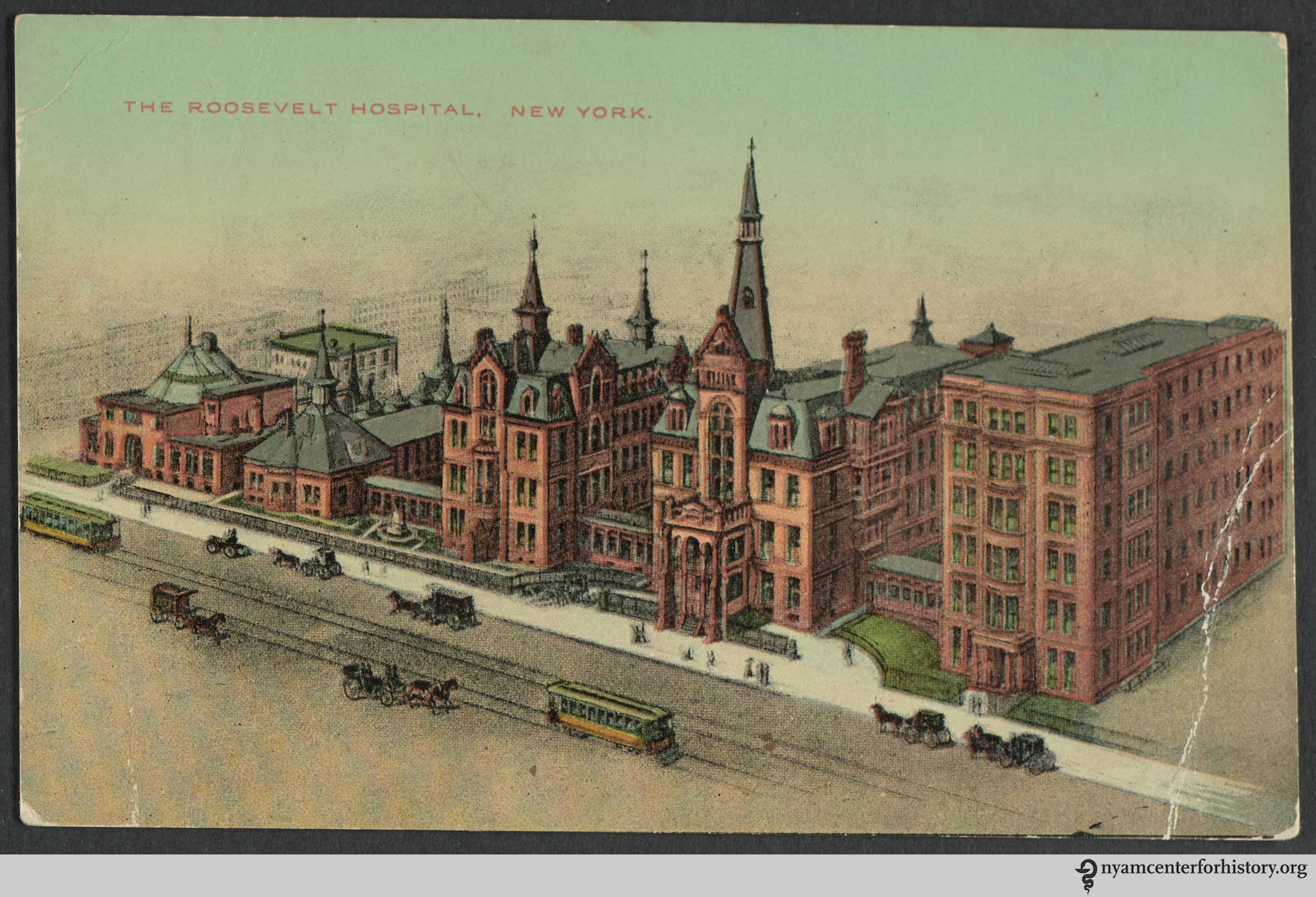The front of a postcard of Roosevelt Hospital.